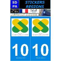 Adhesifs Plaques Immatriculation 2 autocollants Region Departement 10