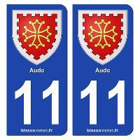 Adhesifs Plaques Immatriculation 2 autocollants Region Departement 11 SR11-1