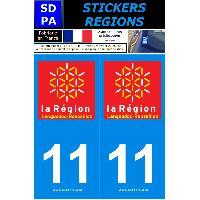 Adhesifs Plaques Immatriculation 2 autocollants Region Departement 11 SR11