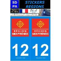 Adhesifs Plaques Immatriculation 2 autocollants Region Departement 12