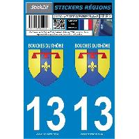 Adhesifs Plaques Immatriculation 2 autocollants Region Departement 13 -version 2