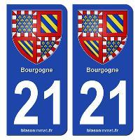 Adhesifs Plaques Immatriculation 2 autocollants Region Departement 21 SR21-1
