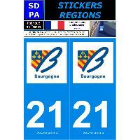 Adhesifs Plaques Immatriculation 2 autocollants Region Departement 21 SR21