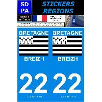 Adhesifs Plaques Immatriculation 2 autocollants Region Departement 22