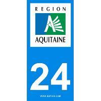 Adhesifs Plaques Immatriculation 2 autocollants Region Departement 24