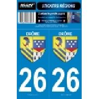 Adhesifs Plaques Immatriculation 2 autocollants Region Departement 26 SR26-1