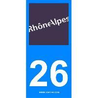 Adhesifs Plaques Immatriculation 2 autocollants Region Departement 26 SR26
