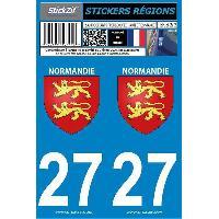 Adhesifs Plaques Immatriculation 2 autocollants Region Departement 27 -nouvelle version-