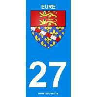Adhesifs Plaques Immatriculation 2 autocollants Region Departement 27 version 2