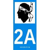 Adhesifs Plaques Immatriculation 2 autocollants Region Departement 2A