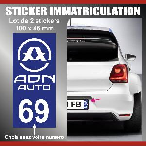 Adhesifs Plaques Immatriculation 2 stickers plaque immatriculation Modele ADNAuto