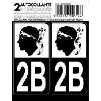 Adhesifs Plaques Immatriculation Autocollant departement 20B - HAUTE CORSE Noir -x2- Generique