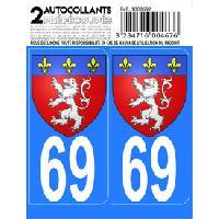 Adhesifs Plaques Immatriculation Autocollant departement 69 - BLASON LYONNAIS -x2- Generique