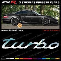 Adhesifs Porsche 3 stickers compatible avec PORSCHE 30 cm - CHROME