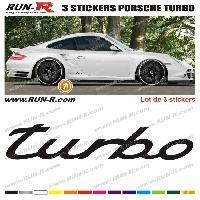 Adhesifs Porsche 3 stickers compatible avec PORSCHE Turbo 30 cm - NOIR
