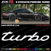 Adhesifs Porsche 3 stickers pour PORSCHE 30 cm - BLANC Run-R Stickers