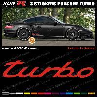 Adhesifs Porsche 3 stickers pour PORSCHE 30 cm - ROUGE Run-R Stickers
