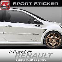 Adhesifs Renault PW01 NA - Sticker Powered by RENAULT - NOIR ARGENT - pour Clio Twingo Megane Laguna Wind Run-R Stickers