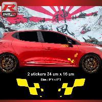 Adhesifs Renault Sticker RENAULT SPORT damier compatible avec Clio Megane Twingo Jaune