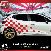 Adhesifs Renault Sticker damier geant pour RENAULT CLIO RS - Rouge Run-R Stickers