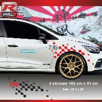 Adhesifs Renault Sticker personnalisable compatible avec aile avant de RENAULT CLIO RS Rouge Argent