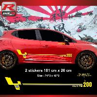 Adhesifs Renault Sticker personnalisable pour Clio RS - Look style Megane R26r Jaune Argent Run-R Stickers