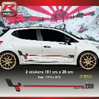 Adhesifs Renault Sticker personnalisable pour Clio RS - Look style Megane R26r Noir Rouge Run-R Stickers