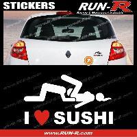 Adhesifs Sexy 1 sticker I LOVE SUSHI 12 cm - BLANC