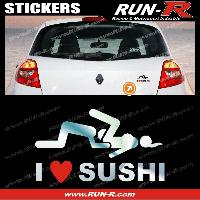 Adhesifs Sexy 1 sticker I LOVE SUSHI 12 cm - CHROME