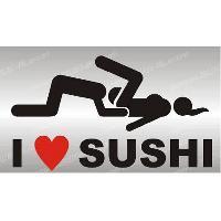 Adhesifs Sexy 1 sticker I LOVE SUSHI 12 cm - NOIR