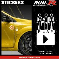 Adhesifs Sexy 2 stickers SEXY PLAY 8 cm - BLANC Run-R Stickers