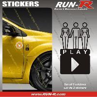 Adhesifs Sexy 2 stickers SEXY PLAY 8 cm - NOIR Run-R Stickers