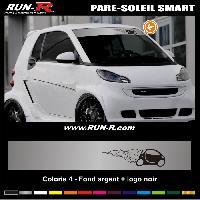 Adhesifs Smart 1 pare-soleil pour SMART 110 cm - Fond ARGENT logo NOIR Run-R Stickers