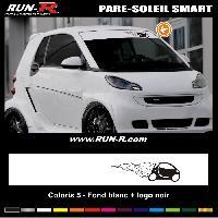 Adhesifs Smart 1 pare-soleil pour SMART 110 cm - Fond BLANC logo NOIR Run-R Stickers