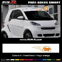 Adhesifs Smart 1 pare-soleil pour SMART 110 cm - Fond BLANC logo ORANGE Run-R Stickers