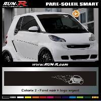 Adhesifs Smart 1 pare-soleil pour SMART 110 cm - Fond NOIR logo ARGENT Run-R Stickers