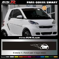 Adhesifs Smart 1 pare-soleil pour SMART 110 cm - Fond NOIR logo BLANC Run-R Stickers