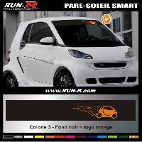 Adhesifs Smart 1 pare-soleil pour SMART 110 cm - Fond NOIR logo ORANGE Run-R Stickers