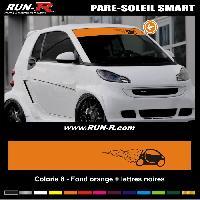 Adhesifs Smart 1 pare-soleil pour SMART 110 cm - Fond ORANGE logo NOIR Run-R Stickers
