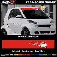 Adhesifs Smart 1 pare-soleil pour SMART 110 cm - Fond ROUGE logo BLANC Run-R Stickers