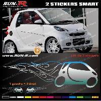 Adhesifs Smart 2 stickers compatible avec SMART 27 cm - CHROME