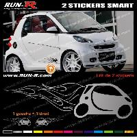 Adhesifs Smart 2 stickers pour SMART 27 cm - ARGENT Run-R Stickers