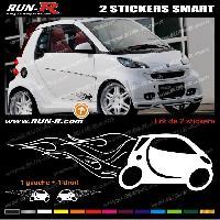 Adhesifs Smart 2 stickers pour SMART 27 cm - BLANC Run-R Stickers