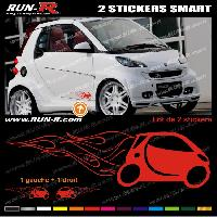 Adhesifs Smart 2 stickers pour SMART 27 cm - ROUGE Run-R Stickers