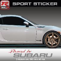 Adhesifs Subaru PW19 RA - Sticker Powered by SUBARU - ROUGE ARGENT - pour Impreza WRX STI BRZ XV Legacy Forester Outback Run-R Stickers