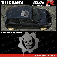 Adhesifs Toits 1 sticker de toit TETE DE MORT 69 cm - ARGENT - TOUS VEHICULES Run-R Stickers