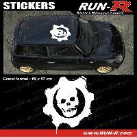 Adhesifs Toits 1 sticker de toit TETE DE MORT 69 cm - BLANC - TOUS VEHICULES Run-R Stickers