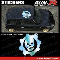 Adhesifs Toits 1 sticker de toit TETE DE MORT 69 cm - CHROME - TOUS VEHICULES Run-R Stickers
