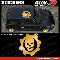 Adhesifs Toits 1 sticker de toit TETE DE MORT 69 cm - DORE - TOUS VEHICULES Run-R Stickers