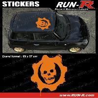 Adhesifs Toits 1 sticker de toit TETE DE MORT 69 cm - ORANGE - TOUS VEHICULES Run-R Stickers